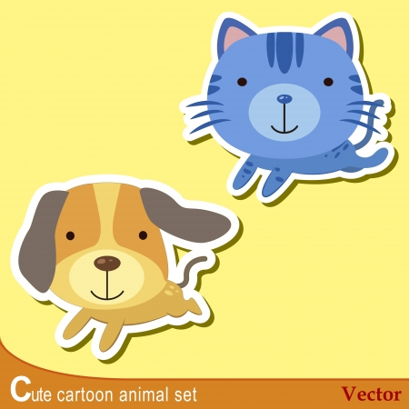 cat: set of cute cartoon animals with dog,and cat   Illustration
