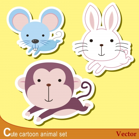 cute cartoon animals: set of cute cartoon animals with mouse, rabbit,and monkey