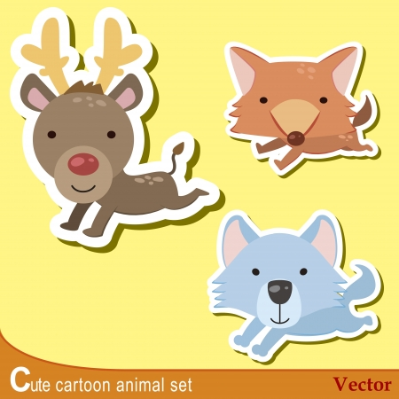 wolf face: set of cute cartoon animals with wolf, fox,and deer
