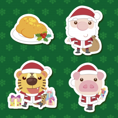 xmas cute cartoon animal santa claus set Vector