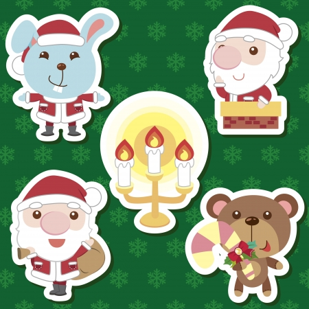 xmas cute cartoon animal santa claus set Stock Vector - 16373757