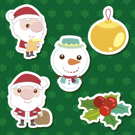 xmas cute cartoon set Vector