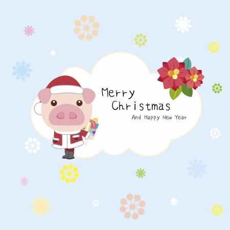 cartoon Xmas card with a pig Vector