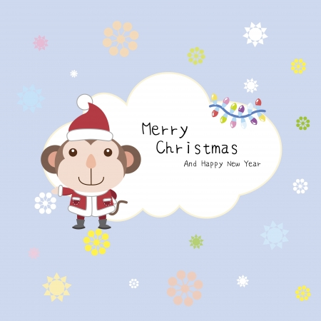 cartoon Xmas card with a monkey Vector