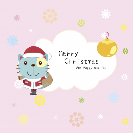 cartoon Xmas card with a cat Vector