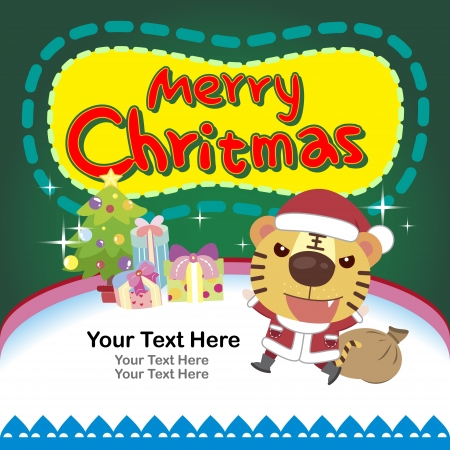 cartoon Xmas card with a tiger Vector