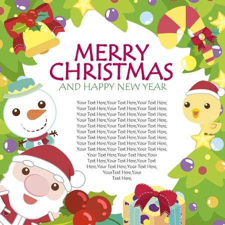 caramelos navidad: Tarjeta de Navidad de dibujos animados
