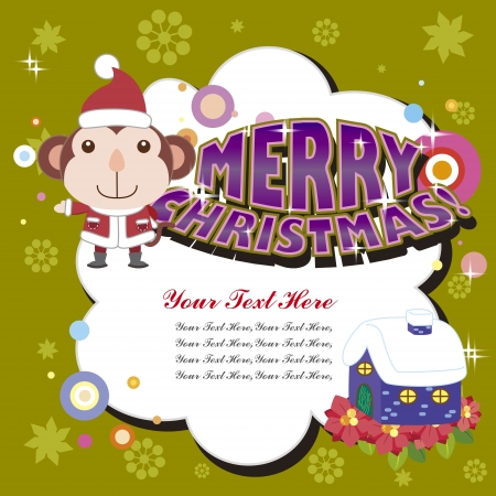 cartoon Xmas card with a monkey Stock Vector - 16453511