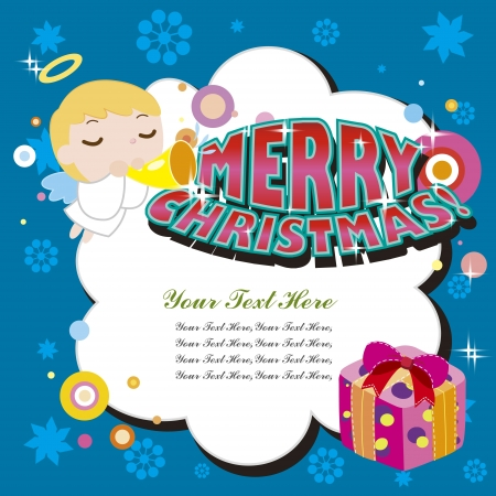 cartoon Xmas cardwith a angel Vector
