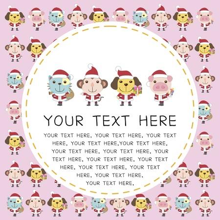 cartoon Xmas card with cute animals Stock Vector - 16453529