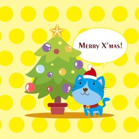 cartoon Xmas card with a cat Stock Vector - 16453482
