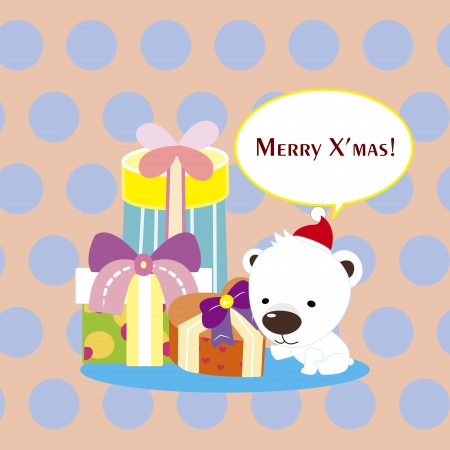 cartoon Xmas card with a polar bear Vector