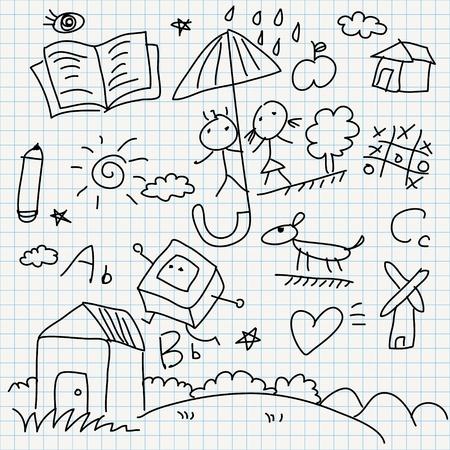 set of notebook paper doodles Stock Vector - 16544085
