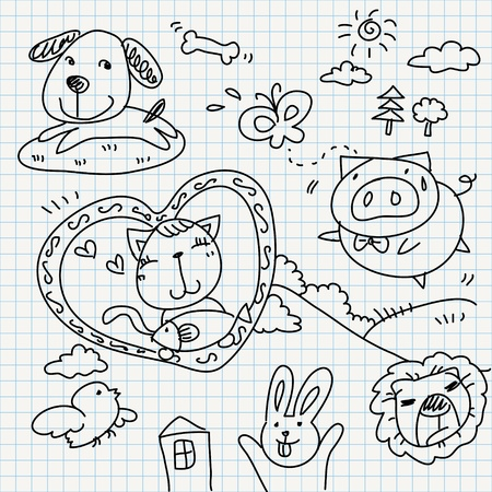 set of notebook paper doodles  Stock Vector - 16544087