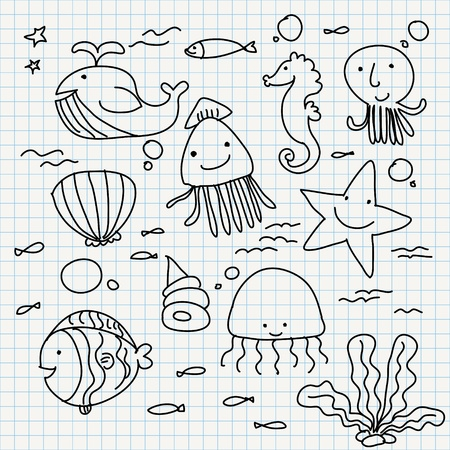 set of notebook paper doodles  sea animals  Vector