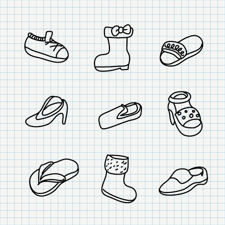 shoes set of notebook paper doodles  Stock Vector - 16544082