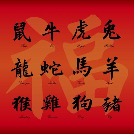 snake calligraphy: Chinese zodiac symbols on red paper background  Illustration