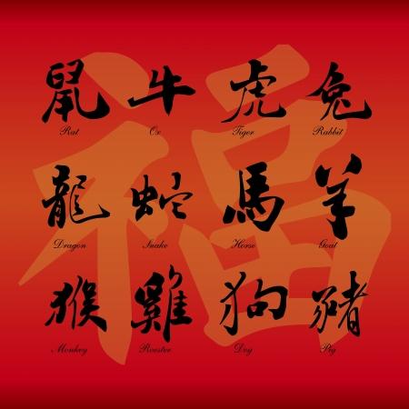 Chinese zodiac symbols on red paper background  Illustration