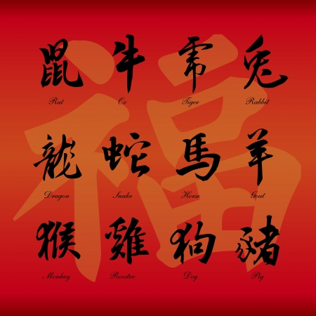 snake year: Chinese zodiac symbols on red paper background  Illustration