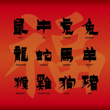 chinese zodiac sign: Chinese zodiac symbols on red paper background  Illustration