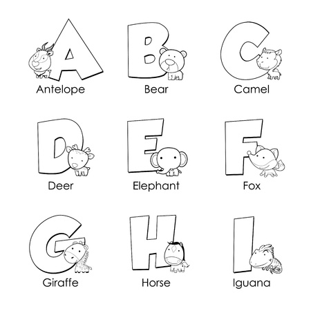 Coloring Alphabet for Kids,A to I Vector