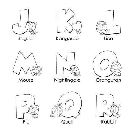 Coloring Alphabet for Kids,J to R Vector