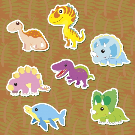 triceratops: seven cute color dinosaur stickers