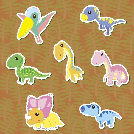 seven cute color dinosaur stickers  Stock Vector - 16544124