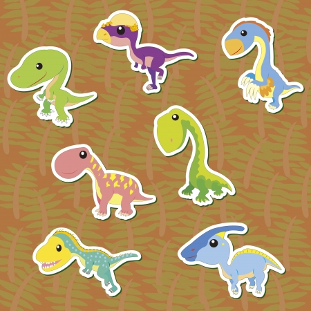 seven cute color dinosaur stickers Stock Vector - 16544130