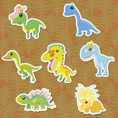 seven cute color dinosaur stickers  Vector