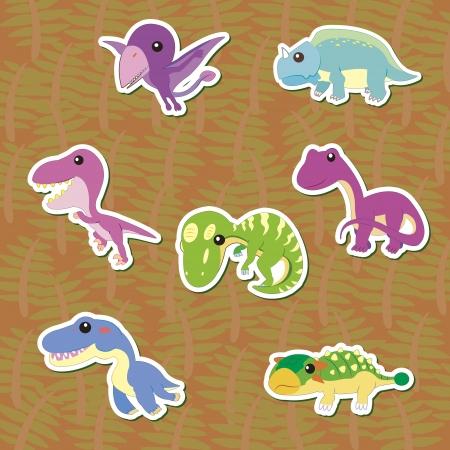 seven cute color dinosaur stickers Stock Vector - 16544125