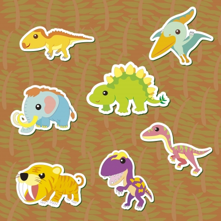 ascendant: seven cute color dinosaur stickers  Illustration