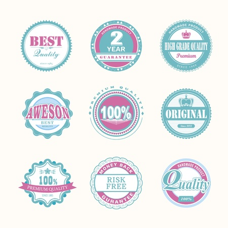 Collection of Premium Quality and Guarantee Labels retro vintage style design   Vector