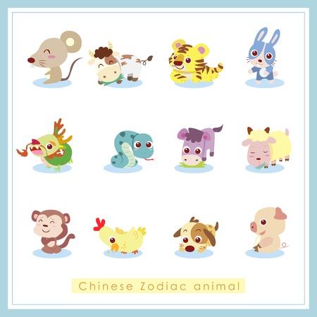 12 Chinese Zodiac animal stickers,cartoon vector illustration