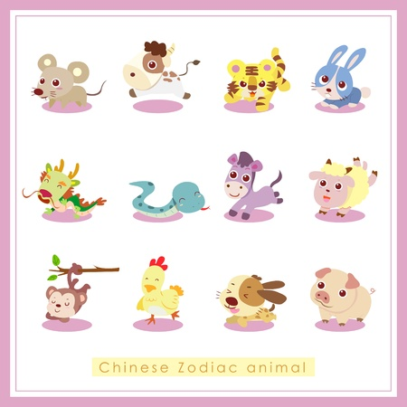 dragon: 12 Chinese Zodiac animal stickers,cartoon vector illustration