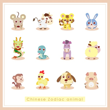 zodiac symbol: 12 Chinese Zodiac animal stickers,cartoon vector illustration
