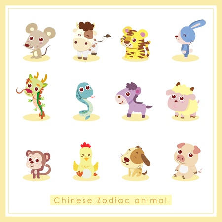 year of the dragon: 12 Chinese Zodiac animal stickers,cartoon vector illustration