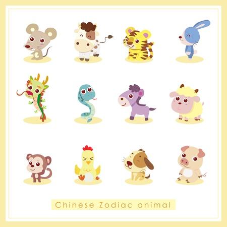 tigre bebe: 12 chinos del zodiaco pegatinas de animales, dibujos animados, ilustraci�n vectorial
