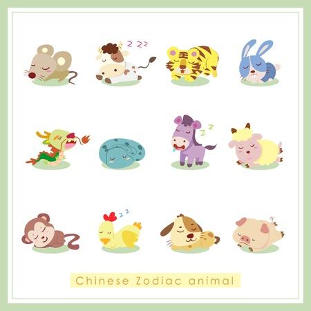 year of rabbit: 12 Chinese Zodiac animal stickers,cartoon vector illustration