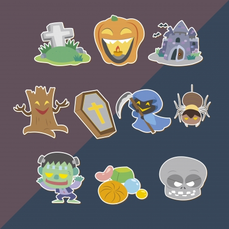 Halloween stickers,cartoon vector illustration Vector