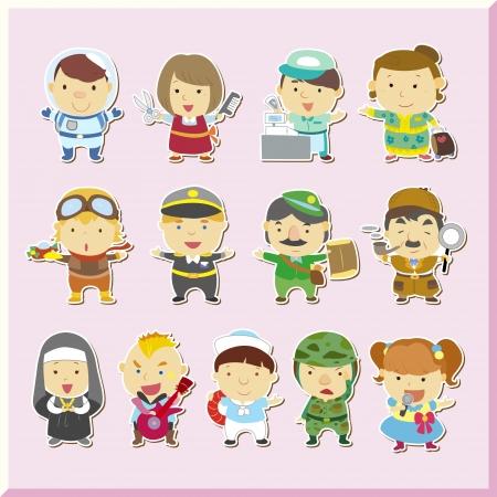 nun: Illustration of jobs set, vector