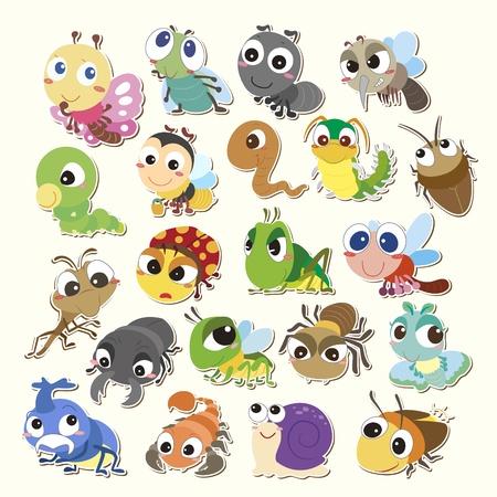 lombriz: Conjunto de insectos lindos de la historieta Vectores