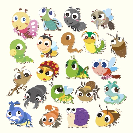 regenworm: Set van cute cartoon insecten