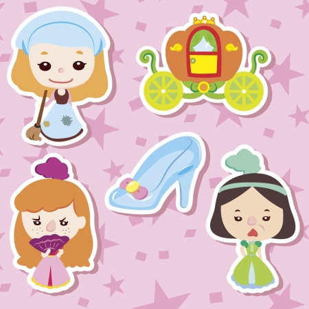 cinderella pumpkin: Cartoon story people icons,vector,illustration Illustration
