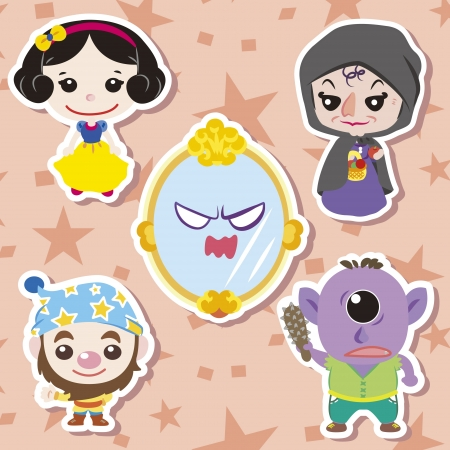 snow white: Cartoon story people icons,vector,illustration Illustration