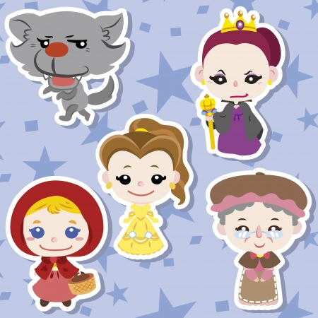 fairy story: Cartoon storia icone, vettore, illustrazione Vettoriali