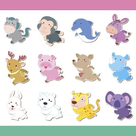 donkey tail: animal lindo de dibujos animados icon set, vector