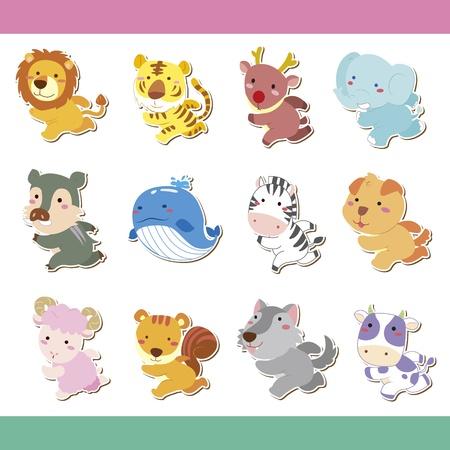 baby stickers: cute cartoon animal icon set, vector Illustration