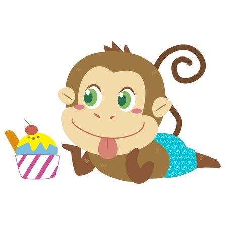 a cute monkey eats an ice cream Vector