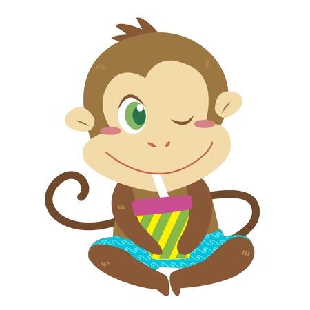 a cute monkey has a drink  Vector